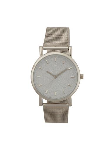 Glitter Metallic Mesh Watch,SILVER,large