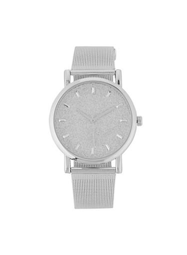 Glitter Face Metallic Mesh Watch | 3140071438187,SILVER,large