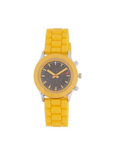 Glitter Face Silicone Watch,YELLOW,large