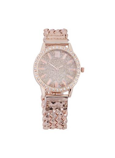 Glitter Rhinestone Woven Strap Watch,ROSE,large