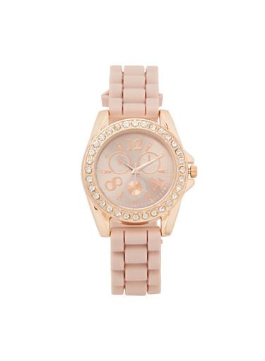 Silicone Strap Rhinestone Watch,BLUSH,large