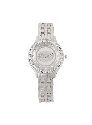 Rhinestone Studded Watch,SILVER,large