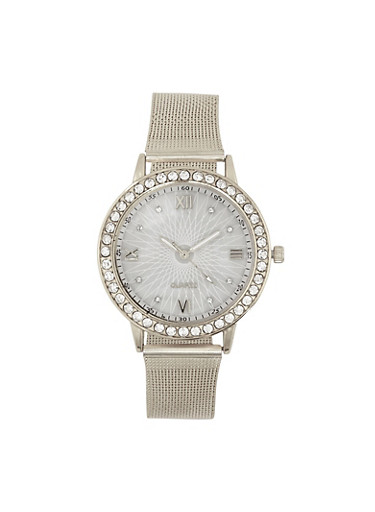 Rhinestone Bezel Metallic Mesh Watch | 3140072692721,SILVER,large