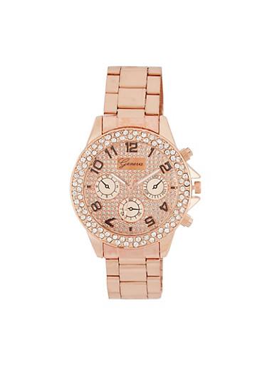 Rhinestone Bezel Watch,ROSE,large