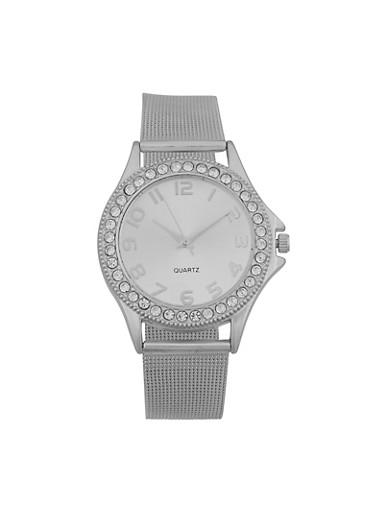Rhinestone Bezel Metallic Strap Watch,SILVER,large