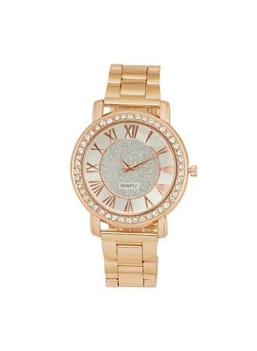 Rhinestone Bezel Metallic Watch,ROSE,large