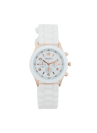 Colored Silicone Watch,WHITE,large