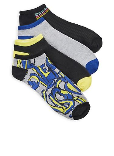 Set of 4 Assorted Love Kiss Ankle Socks,BLACK,large
