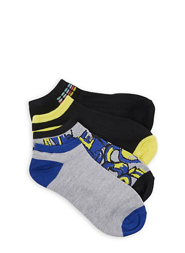 Set of 4 Ankle Socks,BLACK,large