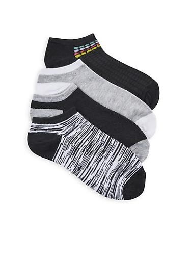 Pack of 4 Ankle Socks,BLACK,large