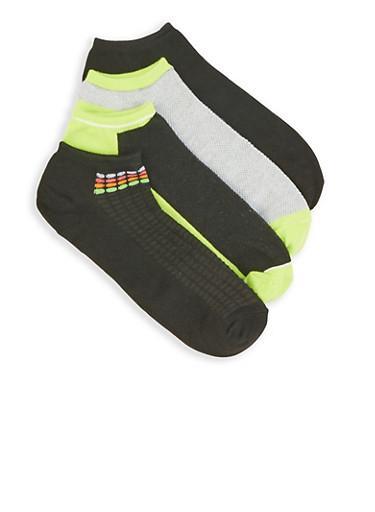Set of 4 Ankle Socks,LIME,large
