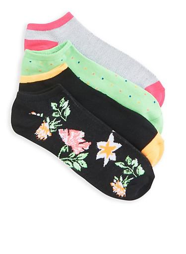 Set of 4 Assorted Ankle Socks,BLACK,large
