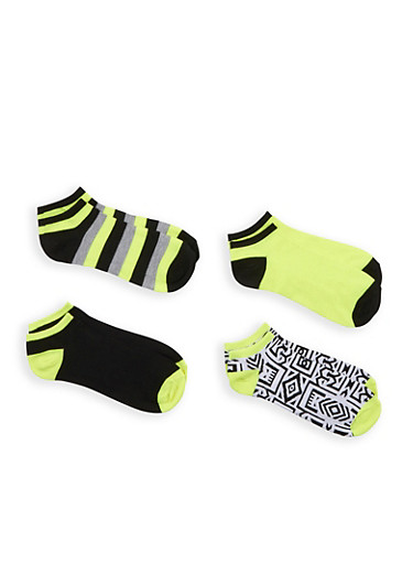 Assorted 4 Pack of Ankle Socks,LIME,large