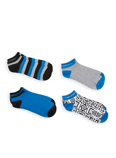 Assorted 4 Pack of Ankle Socks,BLUE,large