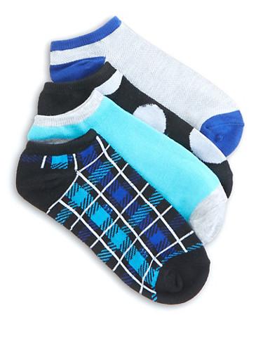 Set of 4 Assorted Ankle Socks,RYL BLUE,large