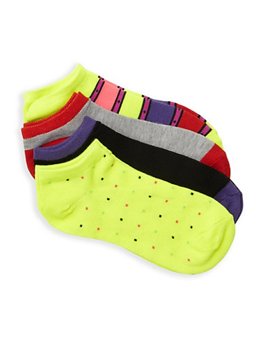 Pack of 4 Ankle Socks,LIME,large