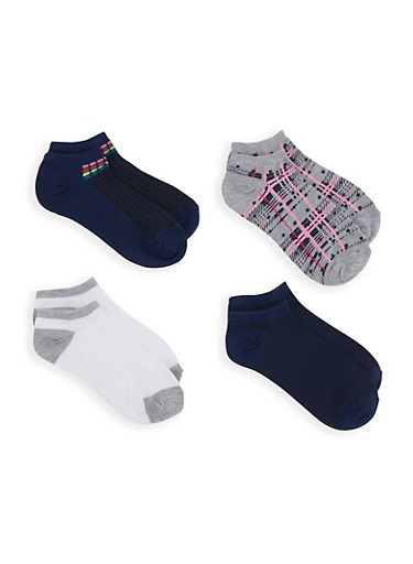 Set of Assorted Printed Ankle Socks,NAVY,large