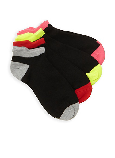 Pack of 4 Contrast Trim Ankle Socks,MULTI COLOR,large