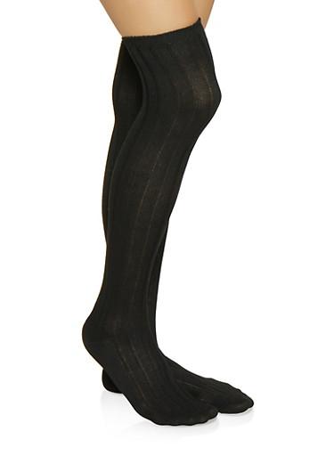 Ribbed Knit Over the Knee Socks,BLACK,large