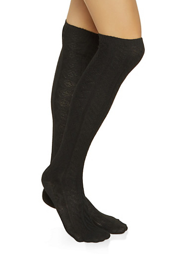 Over the Knee Cable Knit Socks,BLACK,large