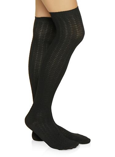 Knit Over the Knee Socks,BLACK,large