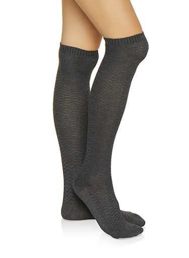 Chevron Over the Knee Socks,CHARCOAL,large