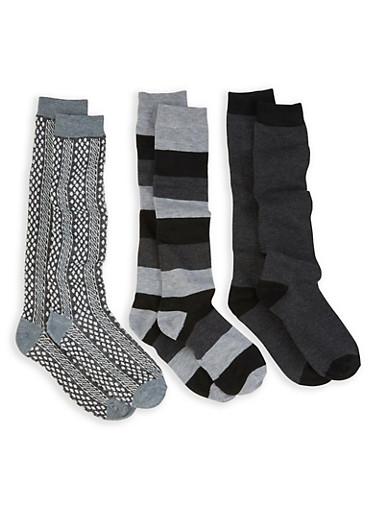 Pack of 3 Knee High Socks,GRAY,large