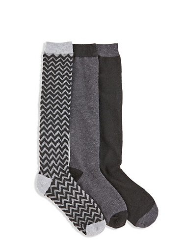 Set of 3 Knee High Socks,BLACK,large