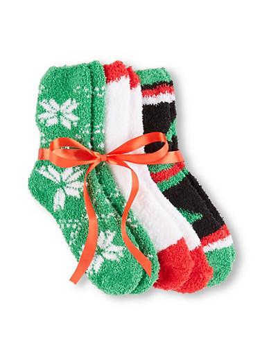 Set of 3 Fuzzy Christmas Socks,WHITE,large