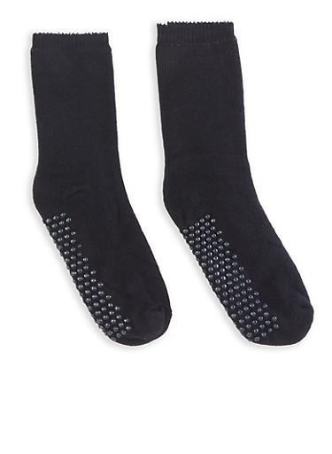 Solid Knit Slipper Socks,BLACK,large