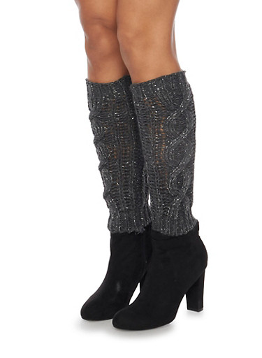 Leg Warmers with Shimmer Knit,CHARCOAL,large
