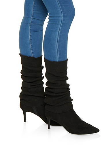 Ribbed Knit Leg Warmers,BLACK,large