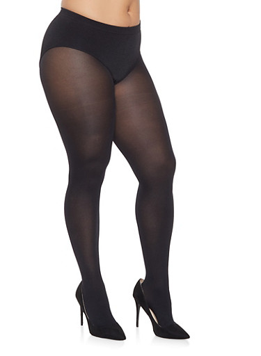 Plus Size Footed Tights,BLACK,large