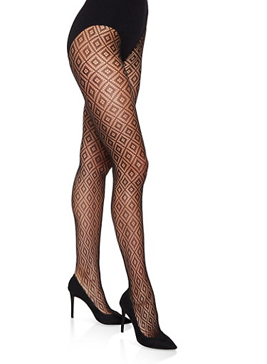 Fishnet Footed Tights,BLACK,large