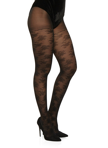 Jacquard Tights,BLACK,large