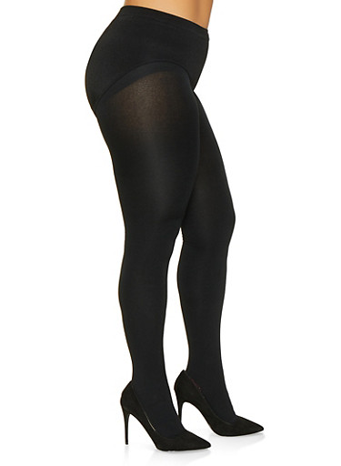 Plus Size Fleece Lined Footed Tights,BLACK,large