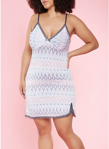 Plus Size Printed Lace Trim Teddy,GRAY,large