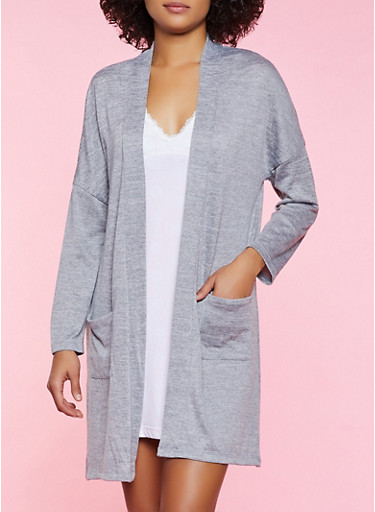 Open Front Marled Robe,HEATHER,large