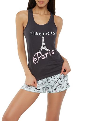 Paris Graphic Tank Top and Pajama Shorts,BLACK,large