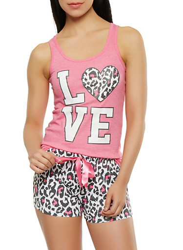 Love Graphic Tank Top and Pajama Shorts | Tuggl