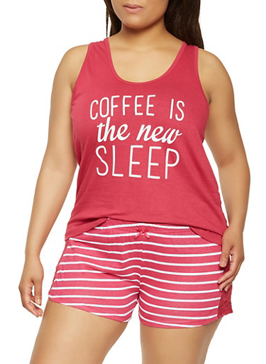 Plus Size Graphic Pajama Tank Top and Shorts,FUCHSIA,large