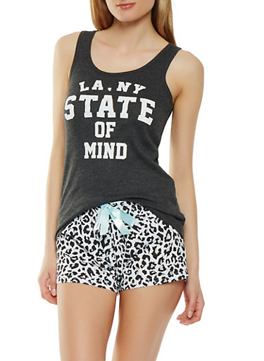 Printed Tank Top and Pajama Shorts,BLACK,large