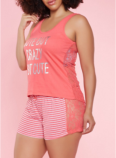 Plus Size Graphic Tank Top and Shorts Pajama Set,CORAL,large