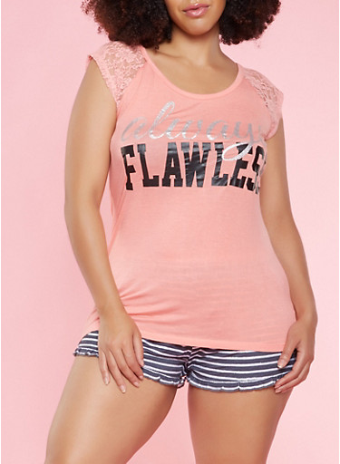 Plus Size Graphic Top and Shorts Pajama Set,CORAL,large