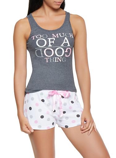 Graphic Tank Top with Polka Dot Pajama Shorts,CHARCOAL,large