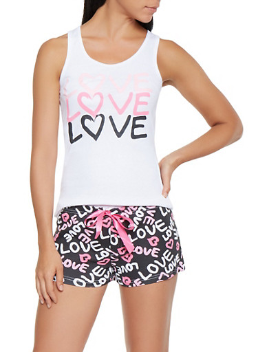 Love Graphic Tank Top and Shorts Pajama Set,WHITE,large