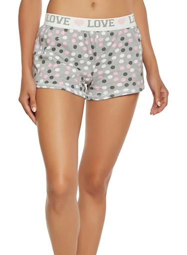 Polka Dot Print Pajama Shorts,GRAY,large
