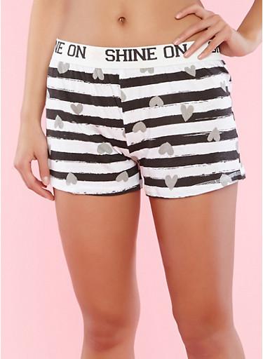 Striped Heart Print Pajama Shorts,BLACK,large