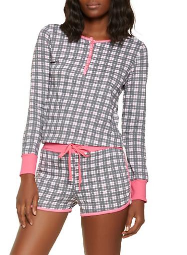 Plaid Pajama Top and Shorts,GRAY,large