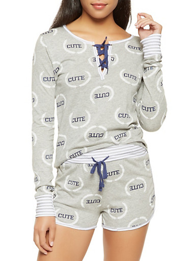 Graphic Lace Up Pajama Top and Shorts Set,GRAY,large